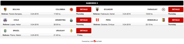 CONMEBOL World Cup qualifying: game 5