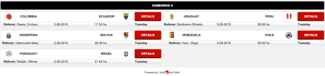 CONMEBOL World Cup qualifying: game 6